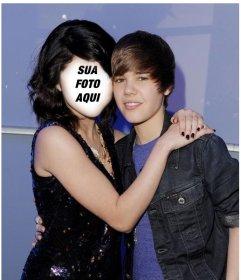 Fotomontagem de Justin Bieber com uma menina para colocar o seu rosto.