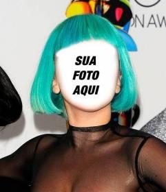 Fotomontagem de Lady Gaga com um penteado verde, onde pode colocar seu rosto