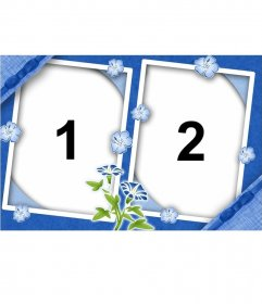 Moldura para duas fotos com flores lilás e fundo da mesma cor