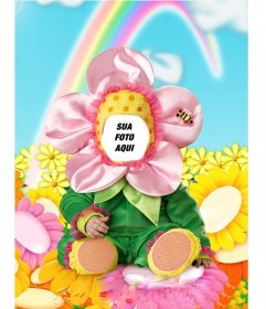 Fotomontagem para colocar um rosto, composto de um traje de flores para as crianças. Obter um acabamento profissional em sua colagem de uma forma fácil e grátis nesta página.