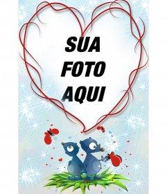 Heart-shaped moldura e fundo azul, com dois animais, corações e borboletas. Grande lembrar para os amantes no Dia dos Namorados.