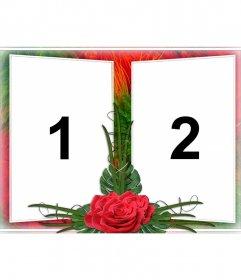 Elegante montagem de duas fotos em uma moldura de verde e vermelho desenhos de flor. Com rosas no meio. Ideal para um casal apaixonado. Como um lembrete de datas importantes e Dia dos Namorados
