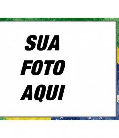 Moldura com bandeira Brasil com um estilo grunge para personalizar suas fotos e adicionar texto online