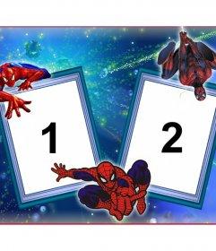 Quadro de duas fotos com Homem-Aranha e sua teia de aranha.