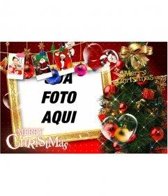 Cartão de Natal com belas decorações de Natal, presentes, fotos do Papai Noel e presentes. Pare cartões de Natal com sua foto.