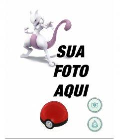 Efeito da foto com Mewtwo em Pokemon Go jogo para adicionar seu