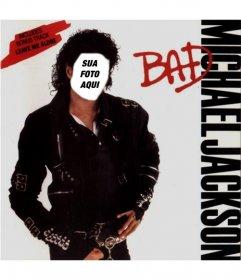 Fotomontagem com o corpo de Michael Jackson. Coloque o rosto que você quer em sua figura, mostrada posar na capa de seu álbum Bad.