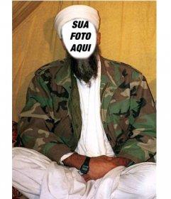 Fotomontagem em que para colocar um rosto de Osama Bin Laden, com seu turbante de costume e roupas brancas e uma jaqueta militar.