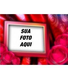 Valentine cartão com sua foto para o fundo do frame, fronteira com rosas vermelhas