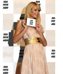 Fotomontagem de Paris Hilton em segundo plano e você vai aparecer na página de título de um CD que está sendo exibido