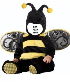 Crianças Fotomontagem de bebê com um traje da abelha para editar com a sua imagem