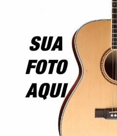 Fotomontagem para colocar a guitarra espanhola em uma foto e adicione o texto online