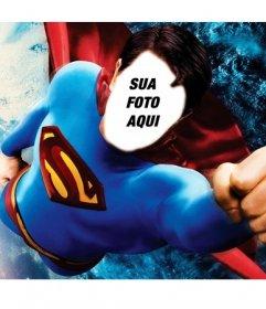 Fotomontagem para se tornar Superman voando sobre a Terra