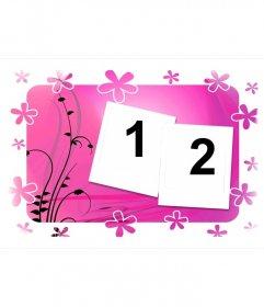 Moldura para duas fotos, fundo rosa com flores e desenhos vegetais. estilo Polaroid. Basta subir as imagens e baixar ou enviar os resultados de forma gratuita.