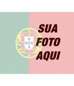 Colagem para colocar a bandeira de Portugal misturado com uma imagem de fundo