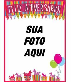 Felicita o aniversário com seus amigos e familiares com este cartão que você pode personalizar as cores com uma fotografia