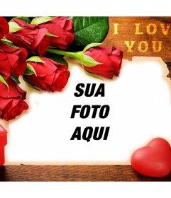 Cartão Do Amor Com Rosas Vermelhas Para Editar Com As Suas