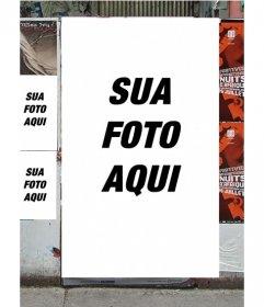 Fotomontagem de fazer cartazes com sua imagem em um muro de uma rua.