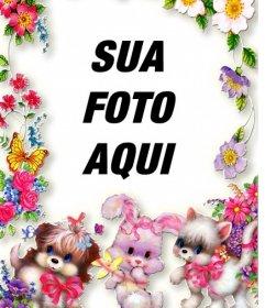 Moldura   Flores E Cachorros  Suba Sua Foto E Coloque De Fundo