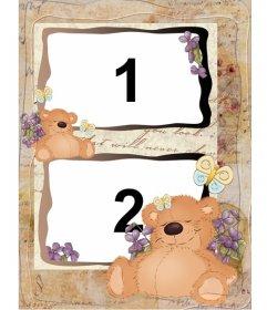 Ursos dormir moldura para duas fotos, para crianças.