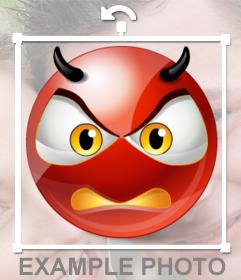 Demônio Smiley irritado para colocar sua foto como um adesivo