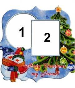 Quadro de duas fotos por ocasião da árvore de Natal e bonecos de neve