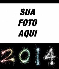 Cartão postal para felicitar o ano novo de 2014, com os números escritos com chuviscos