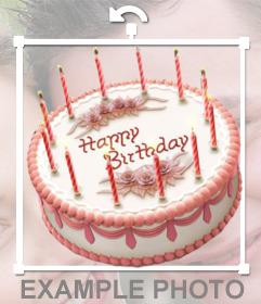 Etiqueta em linha de um bolo de aniversário para inserir em suas imagens