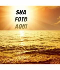 Fotomontagem com um por do sol marino, onde a cara cortada ou a imagem aparece no centro do sol, banhado em uma luz brilhante dourada um mar com ondas.