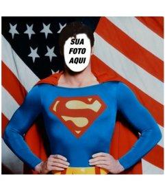 Fotomontagem para colocar um rosto ao Superman, o Homem de Aço, com sua roupa de herói. Atrás dele é a bandeira dos EUA.