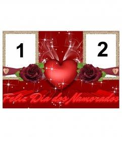 Moldura para duas fotos de amor, elogiando o Dia dos Namorados, Dia dos Namorados. Use este efeito para criar um cartão personalizado, online e gratuito