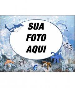Rodada moldura de animais marinhos para colocar sua foto. com polvos, golfinhos e estrelas do mar