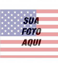 Colagem para montar uma foto com a bandeira dos Estados Unidos.
