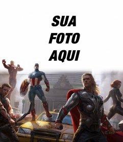 A instalação dos primeiros Avengers defendem a cidade com a sua foto acima