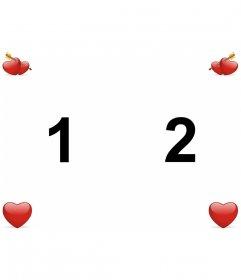 Papel de parede personalizado do amor para fazer com duas fotos com corações Valentine.