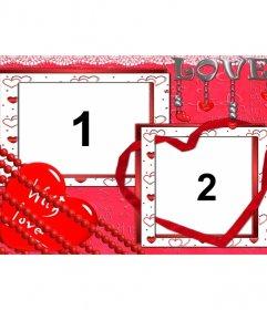 Moldura para duas fotos dos apaixonados. Criar uma fotomontagem com o amor como tema central online de graça. como cartão personalizado do Dia dos Namorados para imprimir ou enviar por e-mail.