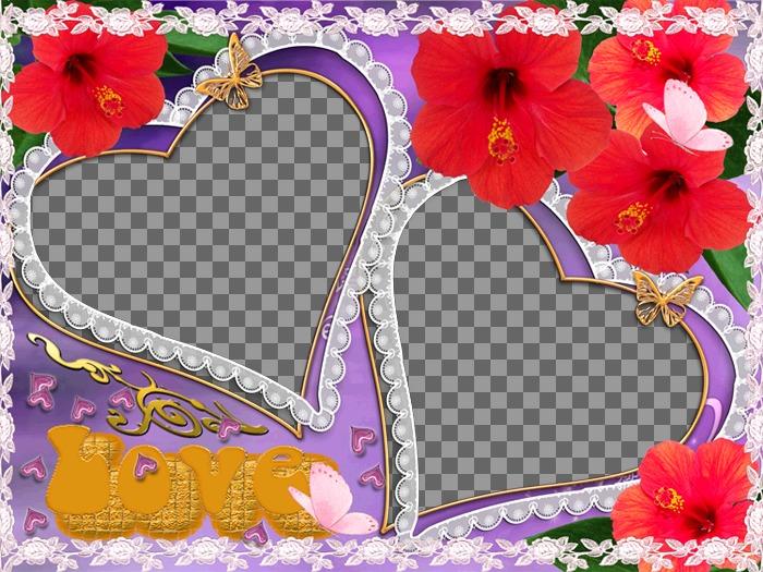 Conjunto de duas molduras, em forma de coração, flores e borboletas aparecem. Ideal para representar o amor de um parceiro. Violeta de fundo