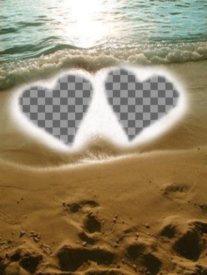 Criar um cartão postal para o dia dos Namorados on-line personalizado . Fundo para duas fotos,com dois corações na areia da praia como uma moudura