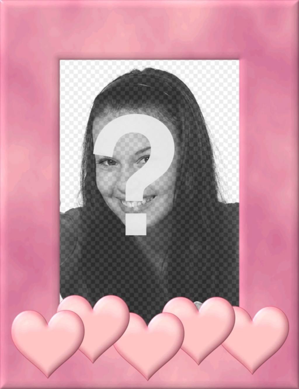 Moldura para foto com borda rosa decorado com corações. subir uma imagem, cortár e colocar essa borda como uma decoração que inspira amor