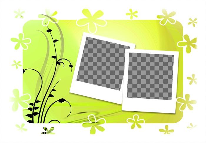 Decore Suas Fotos Com Esta Moldura Para Duas Fotos Fundo Verde E