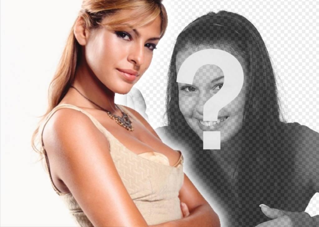 Modelo para a colagem de fotos com personagens populares e de celebridades. Carregar uma foto sua e ficar ao lado de Eva Mendes, modelo e atriz. É fácil!