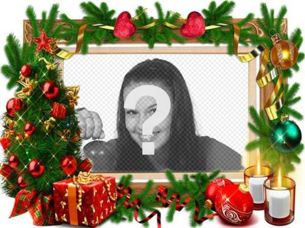 Um quadro para fotos com decorações de natal