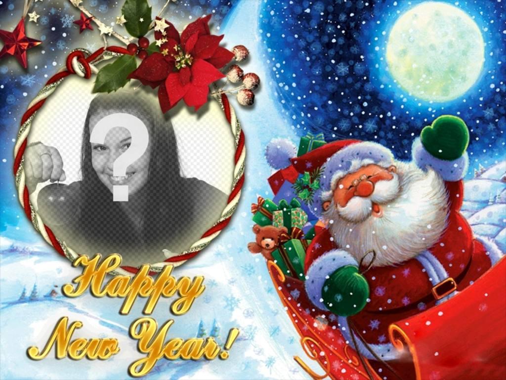Fotomontagem para colocar sua foto em uma moldura redonda com forma de laço, em que o Papai Noel nos felicita o novo ano