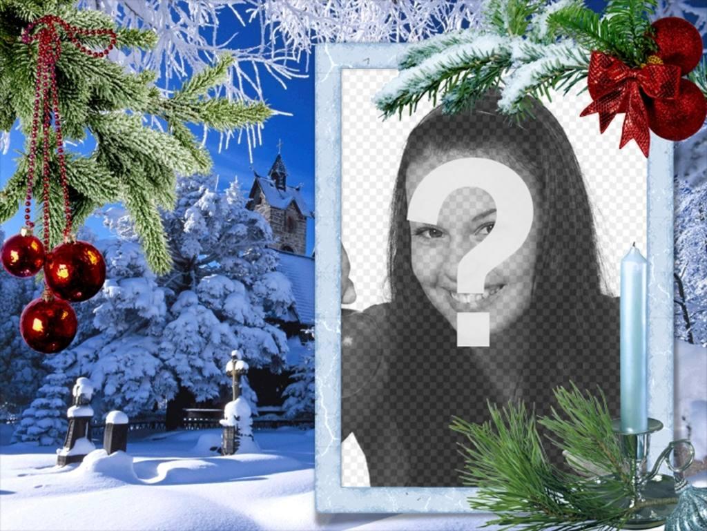 Cartão de Natal com sua foto em um quadro retangular branco