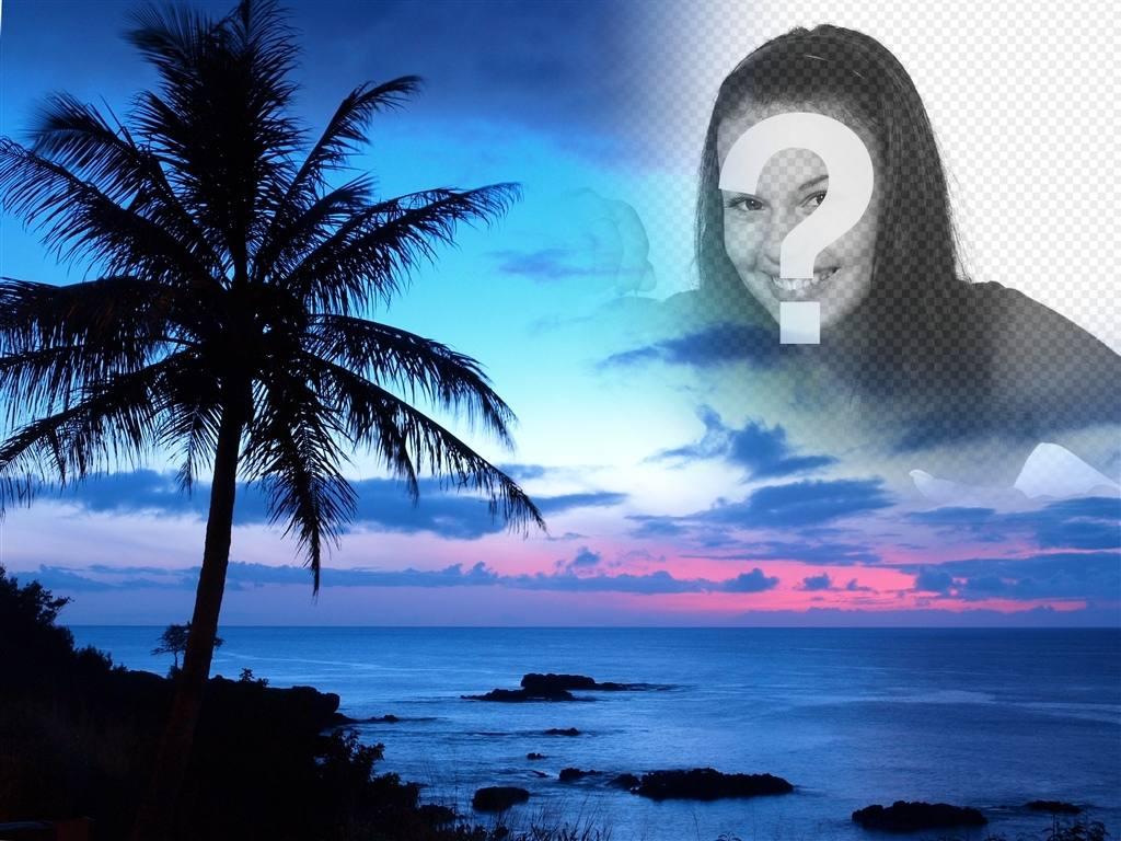 Montagem de fotos em uma paisagem da costa idílica e céu azul. xx criar uma colagem com sua foto com um fundo em que vemos uma grande palmeira e o céu para esta paisagem com uma fotografia que mostra até as bordas aparecem para remover bordas e efeitos suaves. Para lembrar alguém especial, colocando sua imagem no céu de um por do sol no paraíso