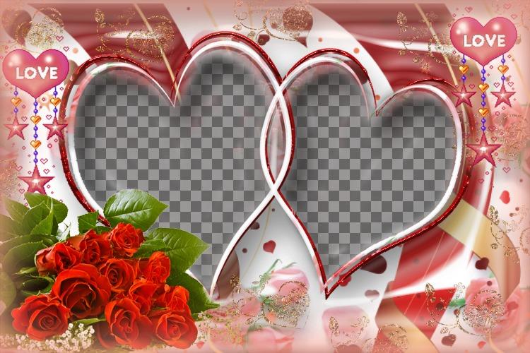 Quadro de imagem muito elaborada com rosas e corações