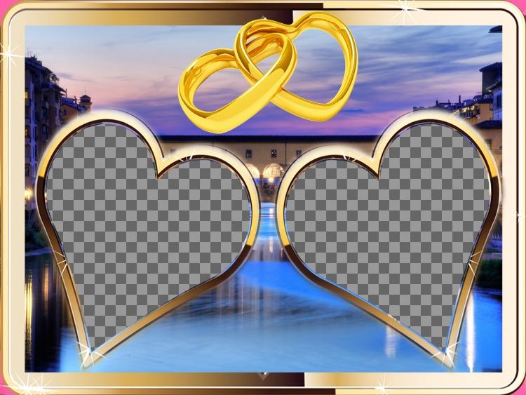 Composição com duas de ouro-moldado, em forma de coração para duas fotos e um por do sol em meio urbano. ver dois anéis de ouro em anexo em formato de coração