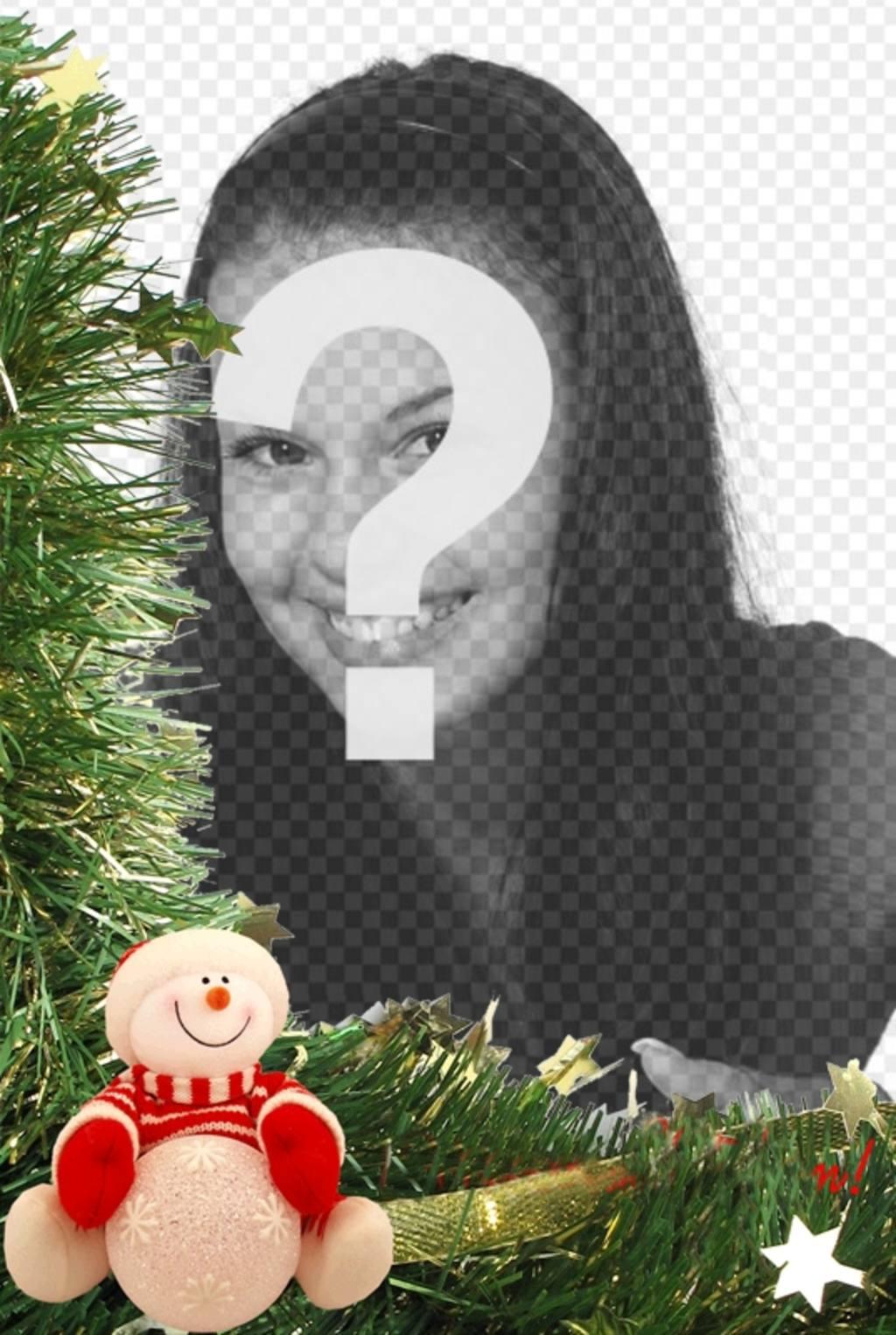 Cartão de Natal com boneco de neve e enfeites para colocar sua foto