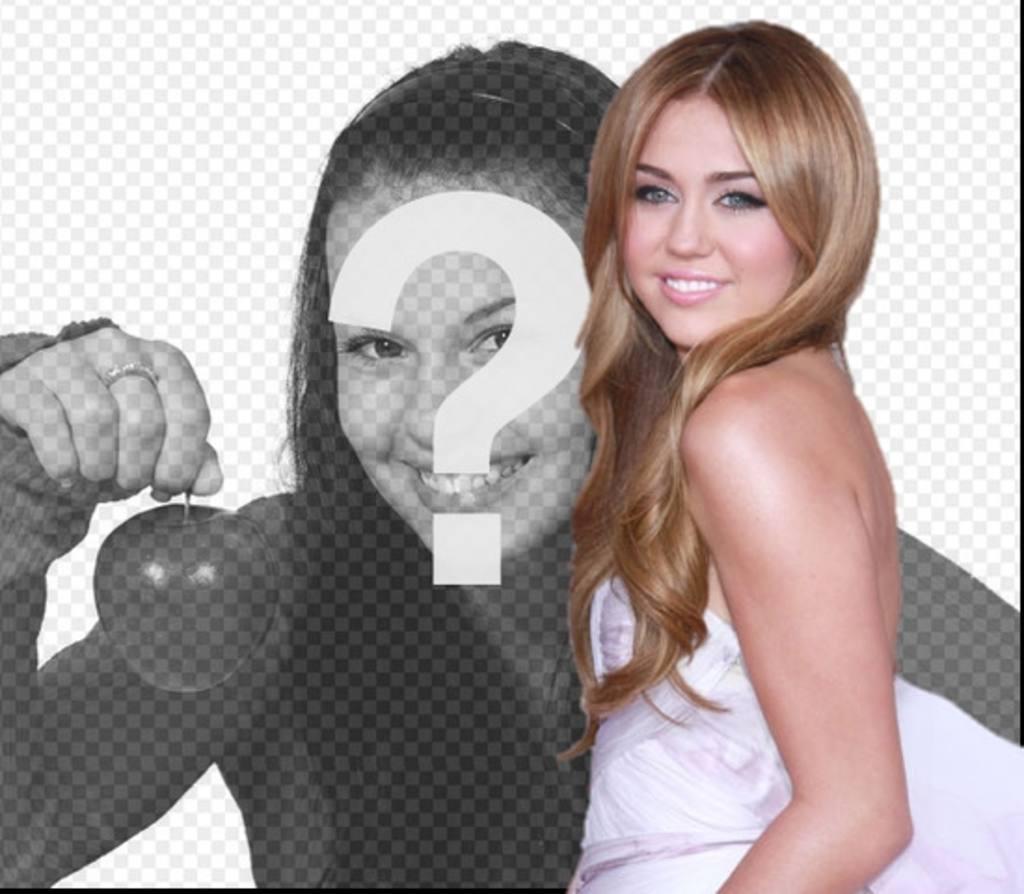 Fotomontagem com Miley Cyrus. Efeito de foto para fazer uma montagem togetherwith Miley