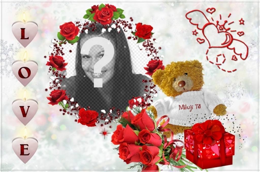 Photo frame, com a palavra AMOR na forma de um urso de pelúcia com corações cor de rosa